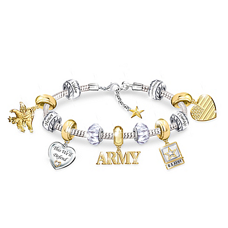 Pride Of The Army Charm Bracelet With Classic Army Symbols