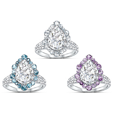 Pure Brilliance Diamonesk Ring: Choose From 3 Gem Colors