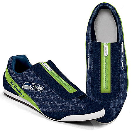 Seattle Seahawks Logo-Pattern Zipper Canvas Sneakers