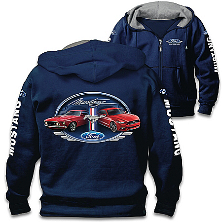Mustang: Untamed American Spirit Men's Blue Front-Zip Hoodie