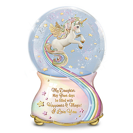 My Daughter, You Are Magical Musical Unicorn Glitter Globe