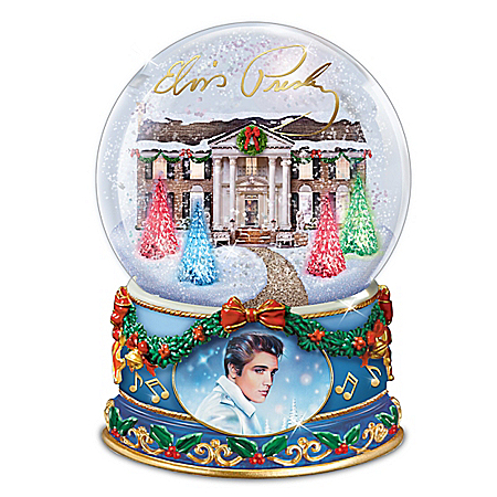 Elvis Presley Light-Up Glitter Globe Plays Blue Christmas