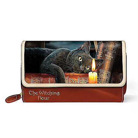 Lisa Parker Witching Hour Women's Cat-Themed Tri-Fold Wallet