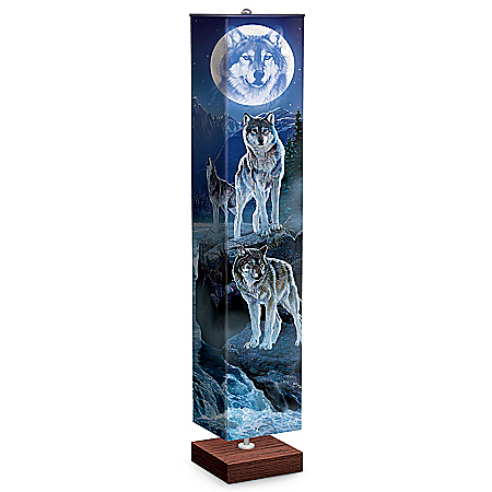 Al Agnew Mystic Moonlight Wolf Art Floor Lamp With Foot Pedal Switch