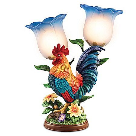 Morning Glory Hand-Painted Rooster Sculpture With Torchiere Table Lamp