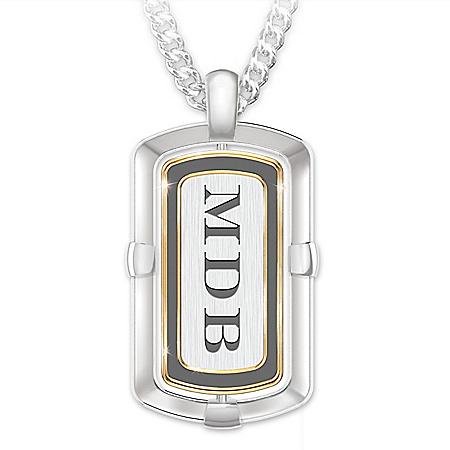 Son Wherever You Go Men's Personalized 2-In-1 Design Stainless Steel & Diamond Dog Tag Pendant Necklace – Personalized Jewelry