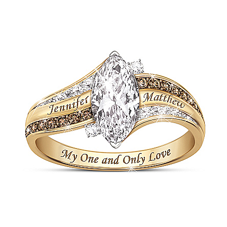 My One And Only Love Women's Personalized Topaz And Diamond Ring With 18K Gold-Plating – Personalized Jewelry