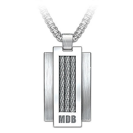 Strength Within Men's Personalized Dog Tag Necklace With Brushed Stainless Steel & Curved Profile With Cable Inlay Design – Pers