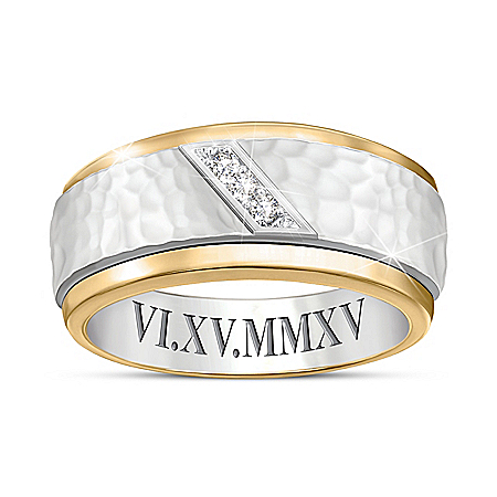 Classic Romance Men's Personalized Diamond Ring Featuring A Hammered-Texture Center & Edged 24K Ion-Plated Gold Accents – Person