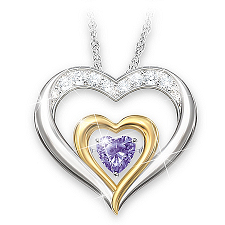 Forever Loved Brilliant Motions Heart-Shaped Personalized Daughter Birthstone Pendant Necklace With 18K Gold-Plated Accents – Pe