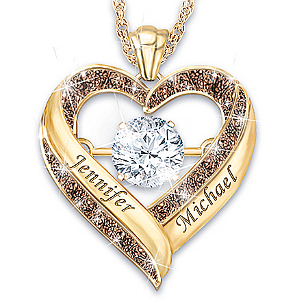 Endless Love Personalized Women's Heart-Shaped White Topaz & Mocha Diamond Pendant Necklace Featuring Constant Motion Setting –
