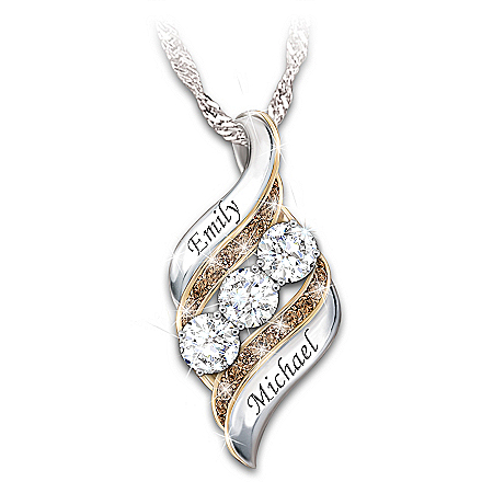 Today, Tomorrow & Always Women's White Topaz And Mocha Diamond Personalized Pendant Necklace With 18K Gold-Plated Accents – Pers