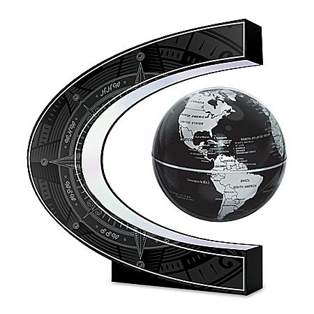 Levitating Globe Sculpture With LED Illuminated Base