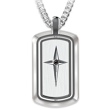 Protection & Strength Men's Stainless-Steel Personalized Spinning Dog Tag Pendant Necklace – Personalized Jewelry