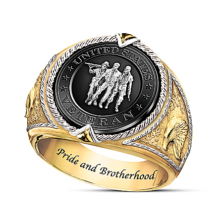 U.S. Veteran Commemorative Men's Ring With Black Onyx Stone