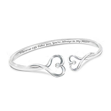 Always In My Heart Women's Heart-Shaped Diamond Bracelet