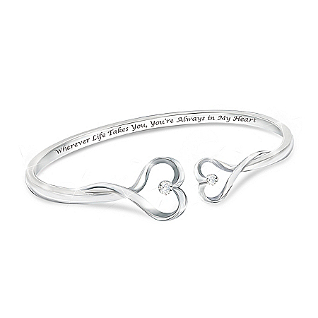 Always In My Heart Women's Heart-Shaped Diamond Bracelet