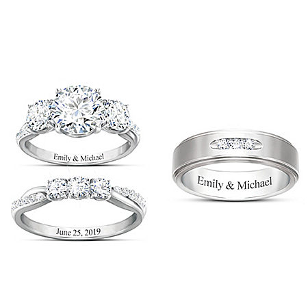 Infinite Love Personalized Sterling Silver Wedding Ring Set Featuring Simulated Diamonds & Platinum Plating – Personalized Jewel