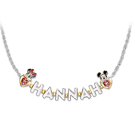 Disney Believe In The Magic In You Women's Personalized Birthstone Mickey Mouse & Minnie Mouse Name Necklace – Personalized Jewe