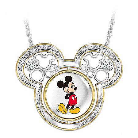 Disney Mickey Mouse Turn Through Time Flip Pendant Necklace
