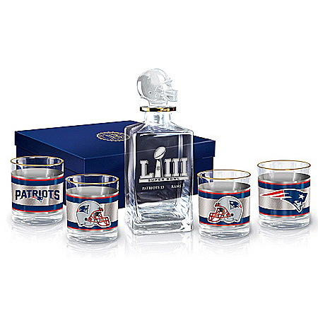 New England Patriots Super Bowl LIII Champions NFL Glass Decanter Set