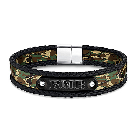 Forge Your Own Path Men's Camouflage Bracelet Featuring Personalized Initials On A Black Ion-Plated Stainless Steel Plaque With