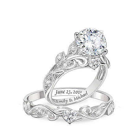 Our Love Blooms Forever Women's Personalized Simulated Diamond Bridal Ring Set – Personalized Jewelry