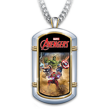 MARVEL Hero Grandson Personalized Stainless Steel Dog Tag Necklace: Officially Licensed Artwork, Ion-Plated 24K-Gold Accents – P