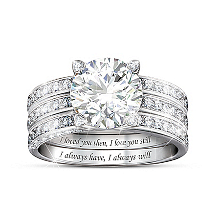 Always My Love Women's Personalized Simulated Diamond Jacket Ring Set Featuring A Unique 2-Ring Set With A 3-Band Look – Persona