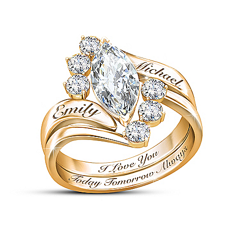 Love Completes Us Women's Personalized 18K-Gold Plated Topaz Stacking Ring – Personalized Jewelry
