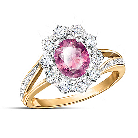 Royal Queen-Inspired Diamonesk Simulated Pink Sapphire Ring