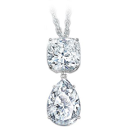 Queen Elizabeth-Inspired 40-Carat Diamonesk Pendant Necklace