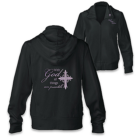 With God, All Things Are Possible Women's Religious Front-Zip Hoodie