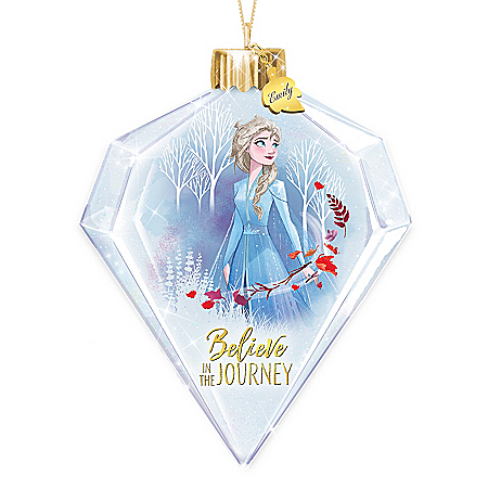 Disney FROZEN 2 Personalized Elsa Glass Ornament Lights Up