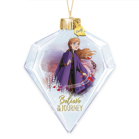 Disney FROZEN 2 Personalized Anna Glass Ornament Lights Up