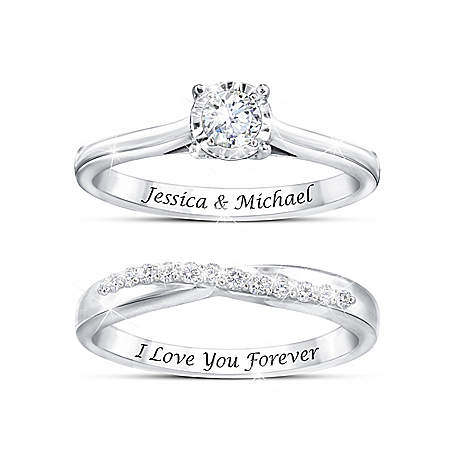 Everlasting Love Women's Personalized Platinum Plated Engagement & Wedding Band Bridal Ring Set Adorned With Over A Dozen Diamon