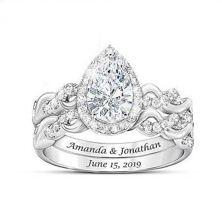 Perfect Pair Women's Personalized Sterling Silver Wedding Ring Set Featuring Over 3 Carats Of Simulated Diamonds – Personalized