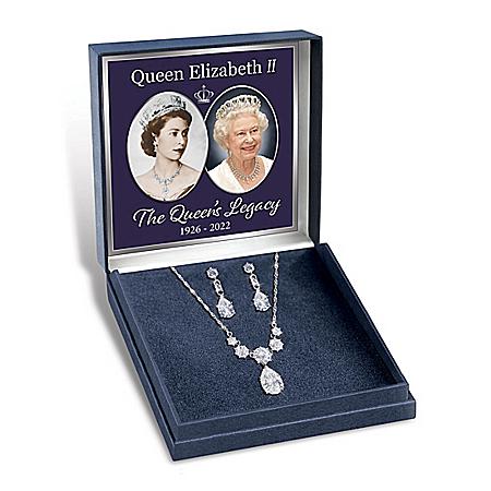 Royal Coronation Women's Diamonesk Necklace And Earrings Set