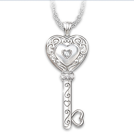 My Daughter, Believe In Yourself Personalized Key-Shaped Diamond Pendant Necklace – Personalized Jewelry
