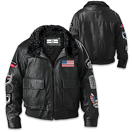 Leather Aviator Jacket With Patches And Embroidered Accents