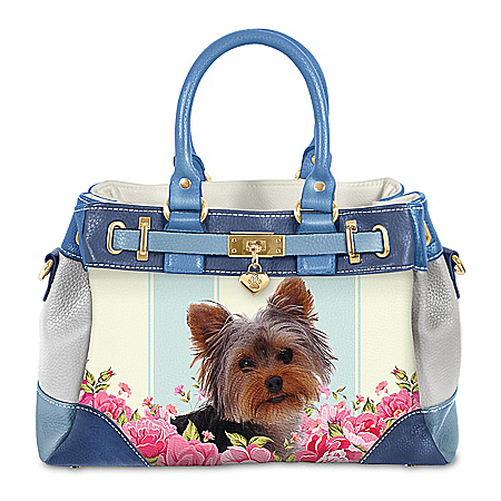 Playful Pup Yorkie Handbag With Pawprint Charm