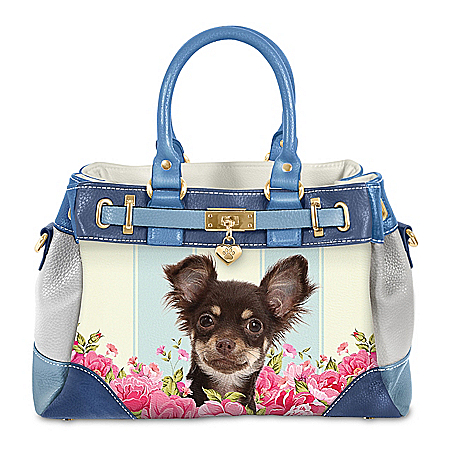 Playful Pup Chihuahua Handbag With Pawprint Charm