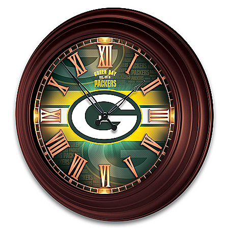 Green Bay Packers Illuminated Atomic Wall Clock