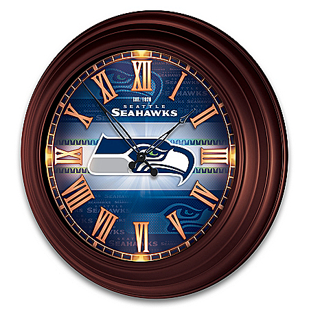 Seattle Seahawks Illuminated Atomic Wall Clock