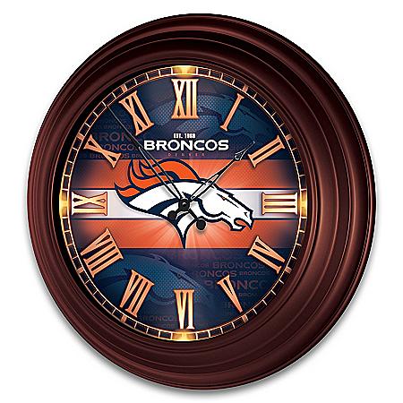 Denver Broncos Illuminated Atomic Wall Clock