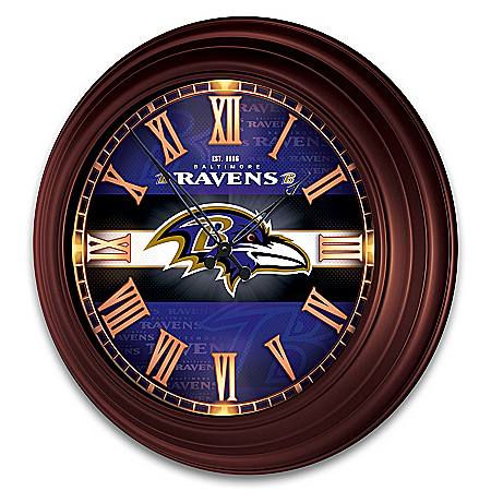 Baltimore Ravens Illuminated Atomic Wall Clock