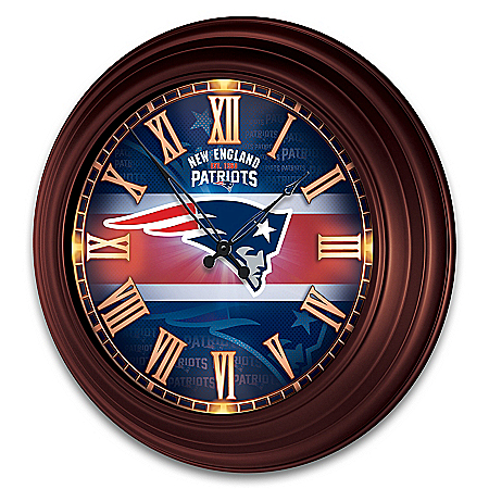 New England Patriots Outdoor Illuminated NFL Atomic Wall Clock