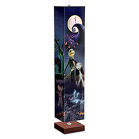 Halloween Town Floor Lamp With 4-Sided Artwork Fabric Shade