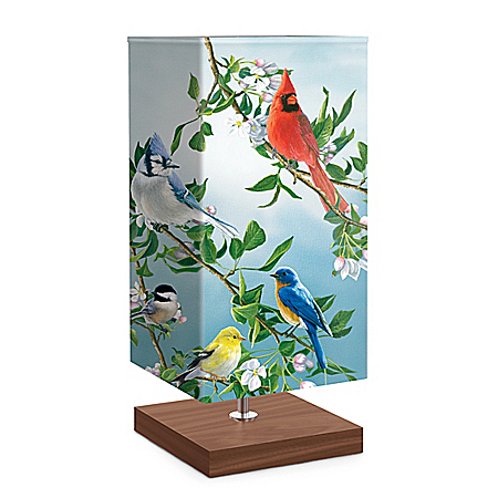 James Hautman Treetop Friends Songbird Art Table Lamp