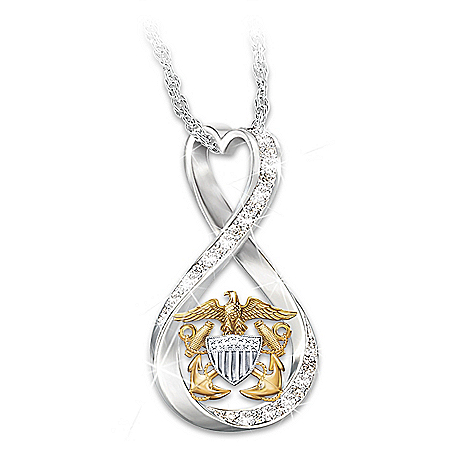 I Love My Sailor Women's Swarovski Crystal Necklace